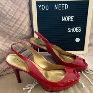 Red Patent Guess by Marciano Heels